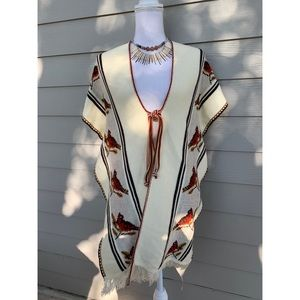 Vtg 60s 70s Long Fringed Knit Hippie Boho Poncho